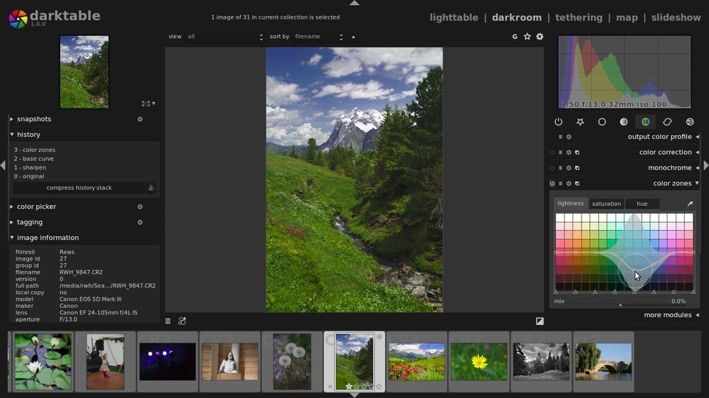 Darktable interface