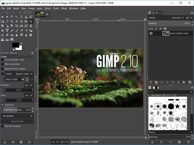 Gimp 2.10 interface
