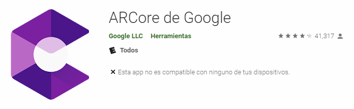 arcore no compatible